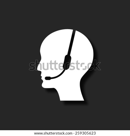 Operator in headset   - vector icon with shadow - stock vector