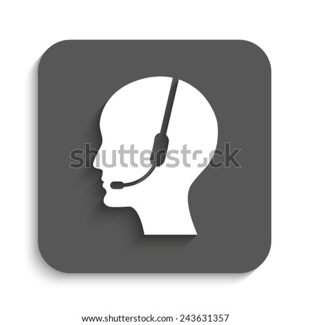 Operator in headset  - vector icon with shadow on a grey button - stock vector