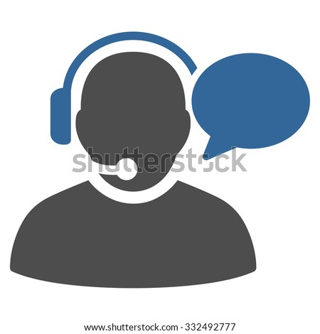 Operator Message vector icon. Style is bicolor flat symbol, cobalt and gray colors, rounded angles, white background. - stock vector