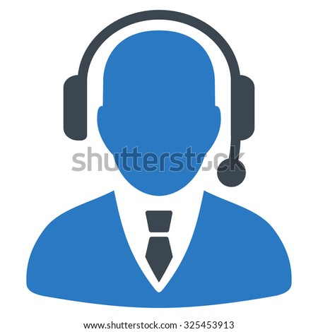 Operator vector icon. Style is bicolor flat symbol, smooth blue colors, rounded angles, white background. - stock vector