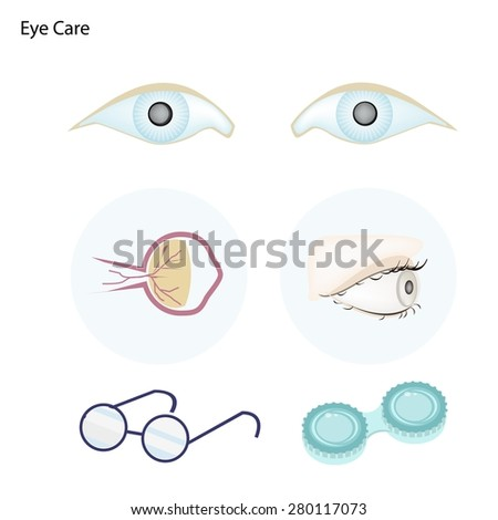Ophthalmology Concept, Illustration of Take Care of The Eye with Glasses and Contact Lenses.