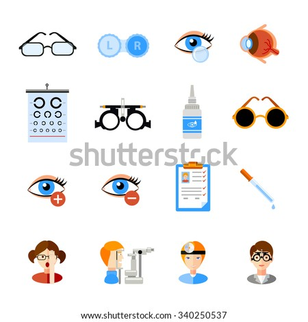 Ophthalmology icons set with eyes and treatment symbols flat isolated vector illustration  - stock vector