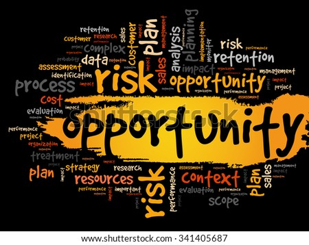 Opportunity and success word cloud, business concept - stock vector