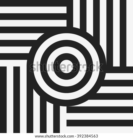 Optical art pattern with striped lines and circles. Abstract psychedelic illusion. Op art background. - stock vector