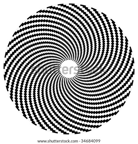 Optical art sphere in black and white - stock vector