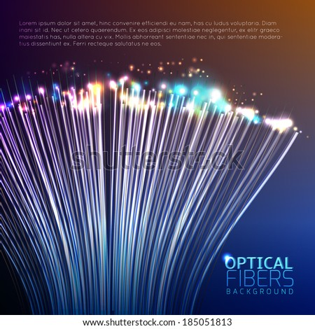 Optical Fibers Background - stock vector