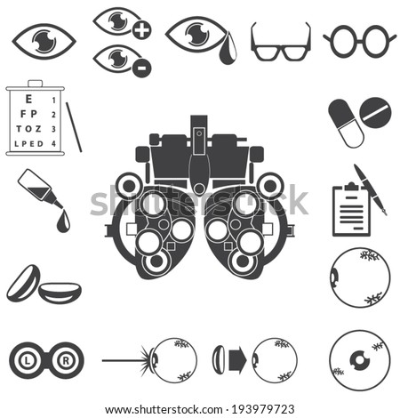 optical icons, ophthalmology icons set, vector symbols - stock vector