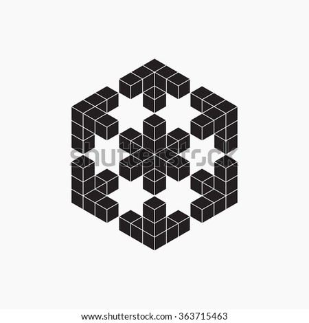Optical illusion, cube, geometric element, vector illustration  - stock vector