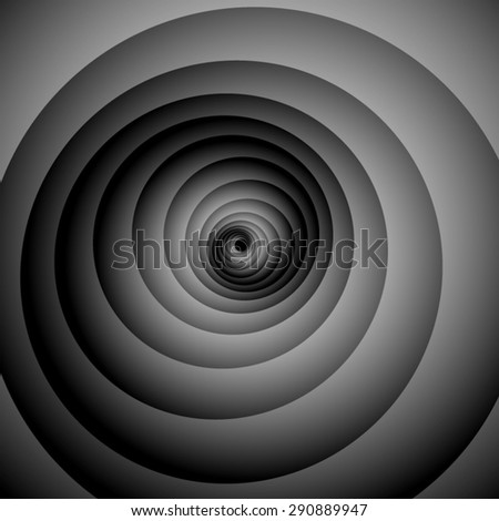 Optical illusion. Gently screwed volume black and white spiral. - stock vector