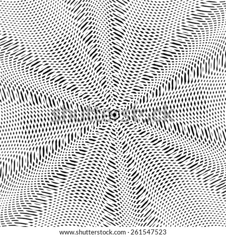 Optical illusion, moire background, abstract lined monochrome tiling. Unusual geometric pattern with visual effects. - stock vector