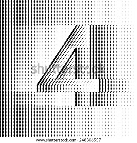 Optical Illusion number 4 - part of Dotted Optical iIllusion Alphabet  - stock vector
