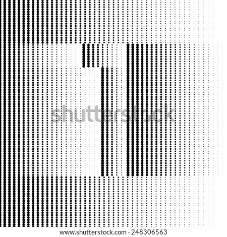 Optical Illusion number 1 - part of Dotted Optical iIllusion Alphabet  - stock vector