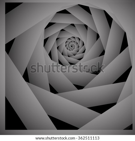 Optical illusion of diminishing fractal monochrome twisted and stretching into the distance playfully twirled volumetric spiral. - stock vector