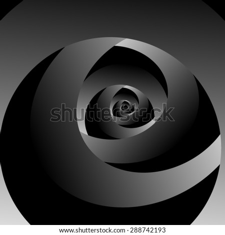Optical illusion of volume, fractal interwoven black and white ribbons. - stock vector