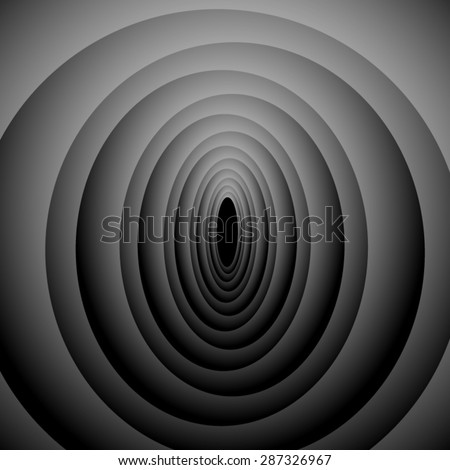 Optical illusion. Repeated volume fractal ovals extending into. - stock vector