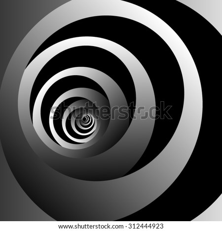 Optical illusion. Repeatedly twisting and disappearing into the distance monochrome metal spiral on a black background. - stock vector