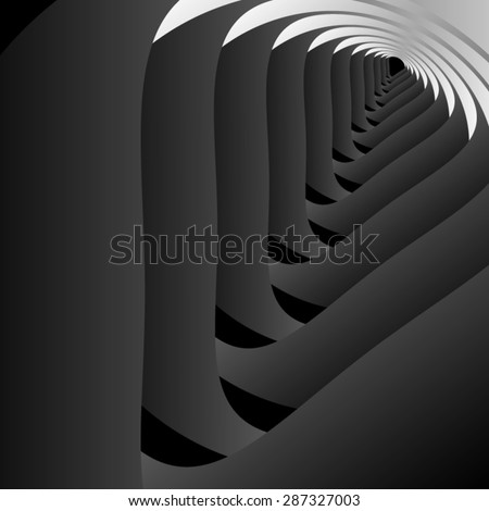 Optical illusion. Road stretching into the distance from the black steps down in repetitive, fractal triangle. - stock vector