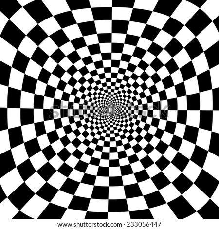 Optical illusion zoom black and white chess background - stock vector