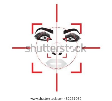 Optical sign of the beautiful female face. - stock vector