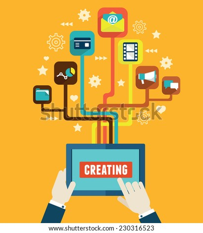Optimization and creating applications for mobile devices - vector illustration  - stock vector