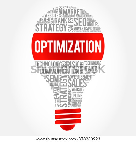 OPTIMIZATION bulb word cloud, business concept - stock vector