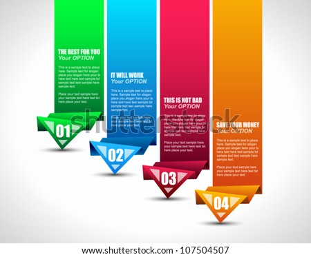 Option tag with origami paper style for infographics, brochure or business presentations. 4 different colors. - stock vector