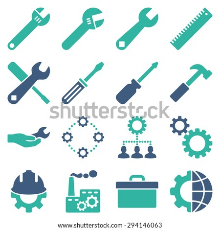 Options and service tools icon set. Vector style: flat bicolor symbols, cobalt and cyan colors, rounded angles, white background. - stock vector