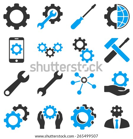 Options and tools icon set. These bicolor icons use modern corporate light blue and gray colors, white color is not used in the symbols. - stock vector