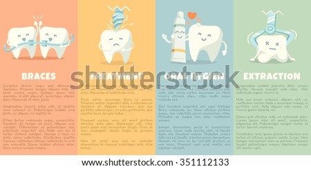 Oral hygiene banners with cute tooth. Part 2. Vector illustration.  - stock vector