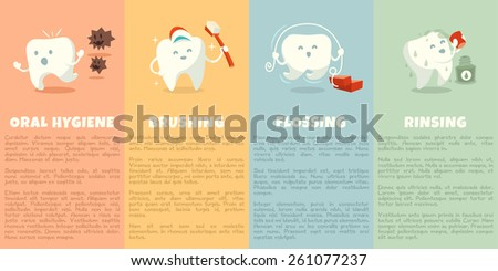 Oral hygiene booklet with cute tooth. Part 1. Brushing, flossing and rinsing. Vector illustration. - stock vector
