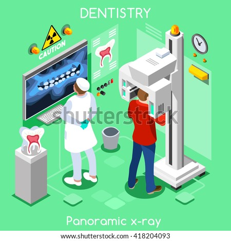 Oral Imaging dental panoramic teeth x ray radiography dental center dentist and patient. Flat 3D isometric people oral care dentistry clinic room dental imaging visit vector illustration. - stock vector