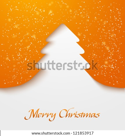 Orange abstract christmas tree applique with snow particles. Vector illustration - stock vector