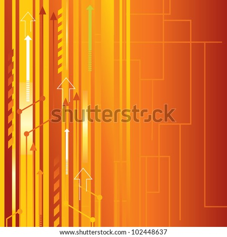 Orange Abstract Vector Background with arrows - stock vector