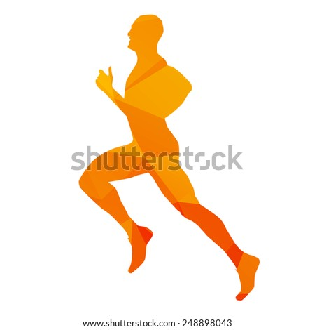 Orange abstract vector runner - stock vector