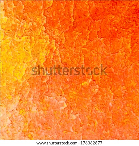 Orange abstract watercolor macro texture background. Colorful handmade technique aquarelle. Vector illustration. - stock vector