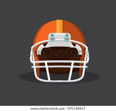 orange American football helmet isolated on a white background with detailed clipping  path.  - stock vector