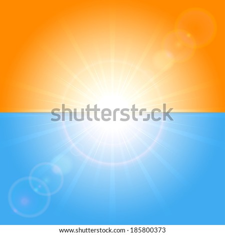 Orange and blue background with shining Sun, illustration. - stock vector