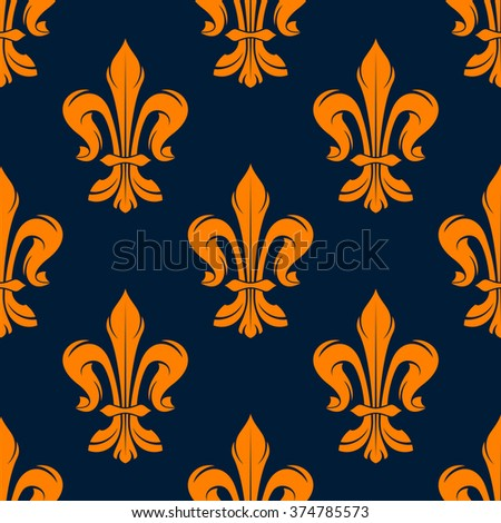 Orange and blue vintage floral seamless pattern with royal fleur-de-lis flowers. Interior, wallpaper and background design usage - stock vector
