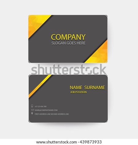 Orange and dark gray Modern Business-Card. - stock vector