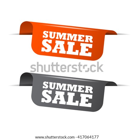 Orange and gray vector illustration isolated sticker banner summer sale two versions. This element is well adapted to web design. - stock vector