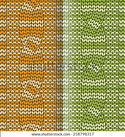 Orange and green striped  knitted pattern with braids  - stock vector