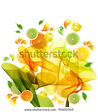 Orange and lime juice splash with abstract wave, vector - stock vector