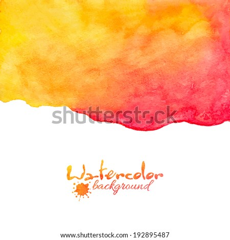 Orange and red watercolor vector background - stock vector