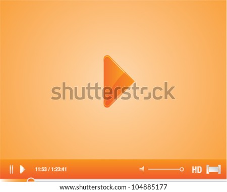 Orange and silver video player vector illustration graphic with stylish control buttons, HD   and full screen icons - stock vector