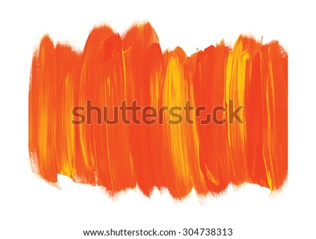 Orange and yellow Brush stroke. Acrylic paint stain. Acrylic brush texture isolated on white. Abstract. Colorful template. EPS 8 - stock vector