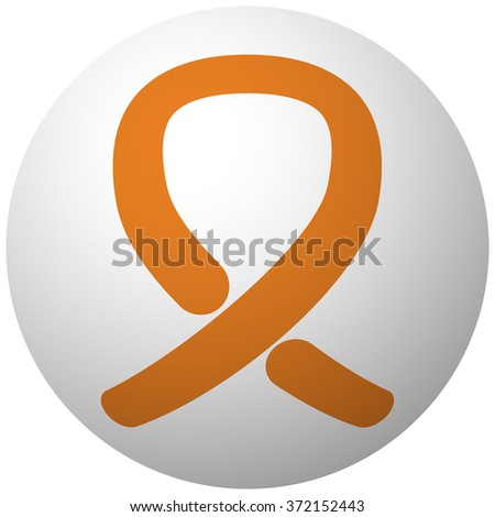 Orange Awareness Ribbon icon on sphere isolated on white background - stock vector