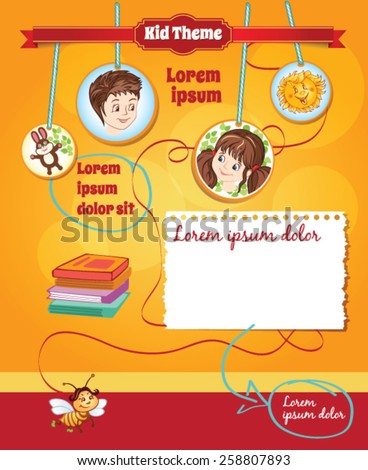 Orange background for kid template - stock vector