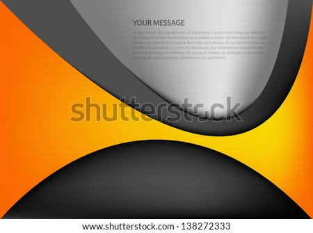 orange background vector overlap dimension 3d graphic message board for text and message design frame line shadow for modern web design eps10 infographic - stock vector