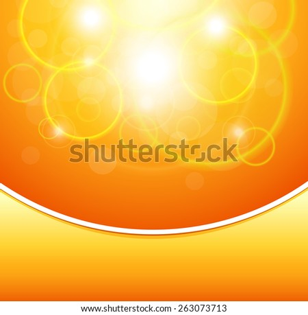 Orange background with abstract lights, vector design. - stock vector