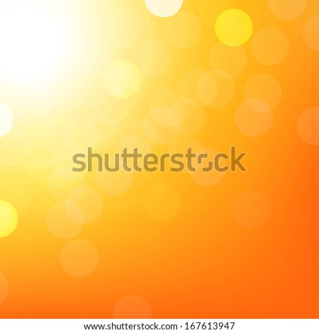Orange Background With Bokeh, With Gradient Mesh, Vector Illustration  - stock vector